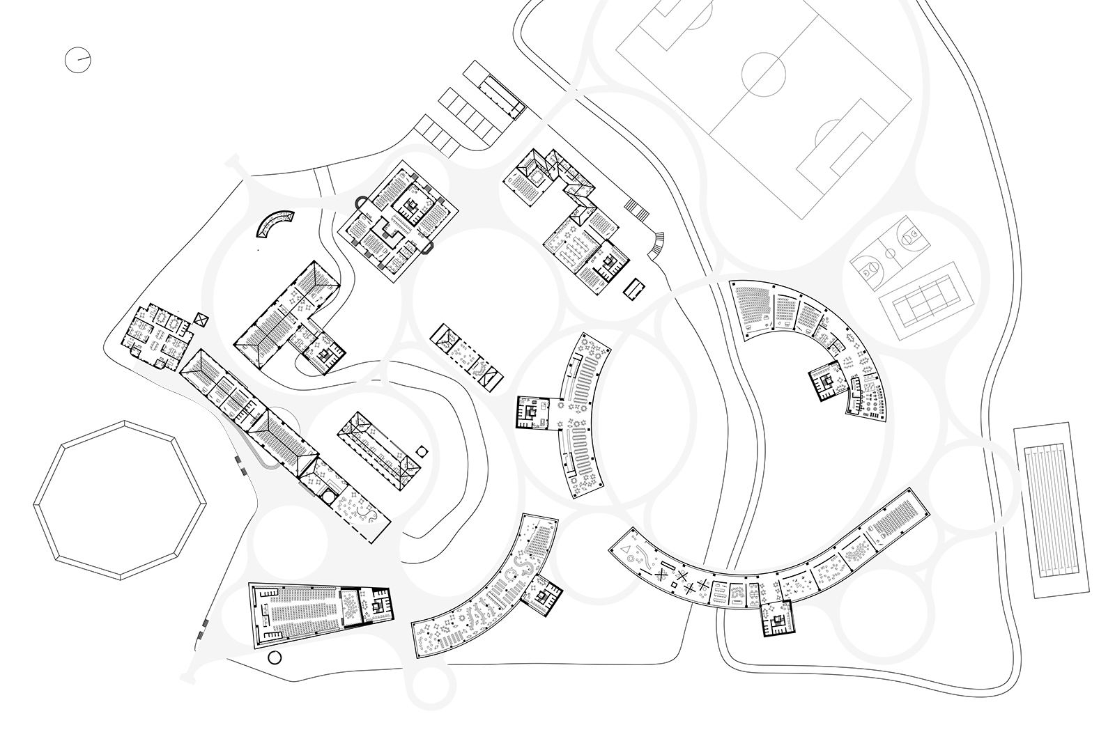 Drawing showing the fragmented and isolated relationships of the UI buildings to each other requiring island wandering