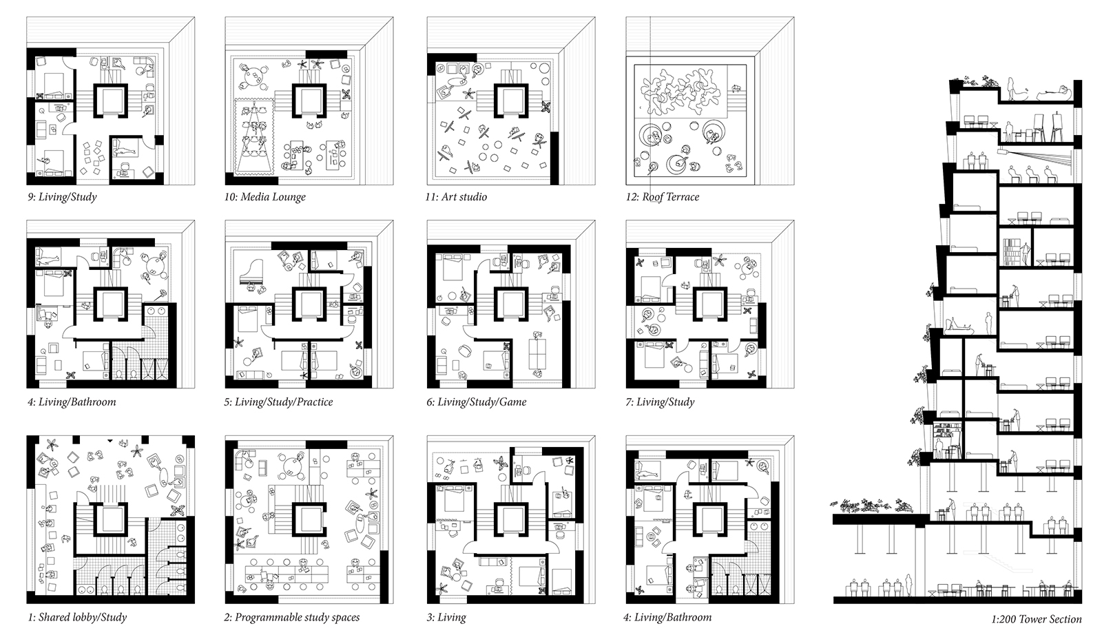 Combined drawing of all of the various UI tower floor plans and section showing the variety of discoverable study spaces