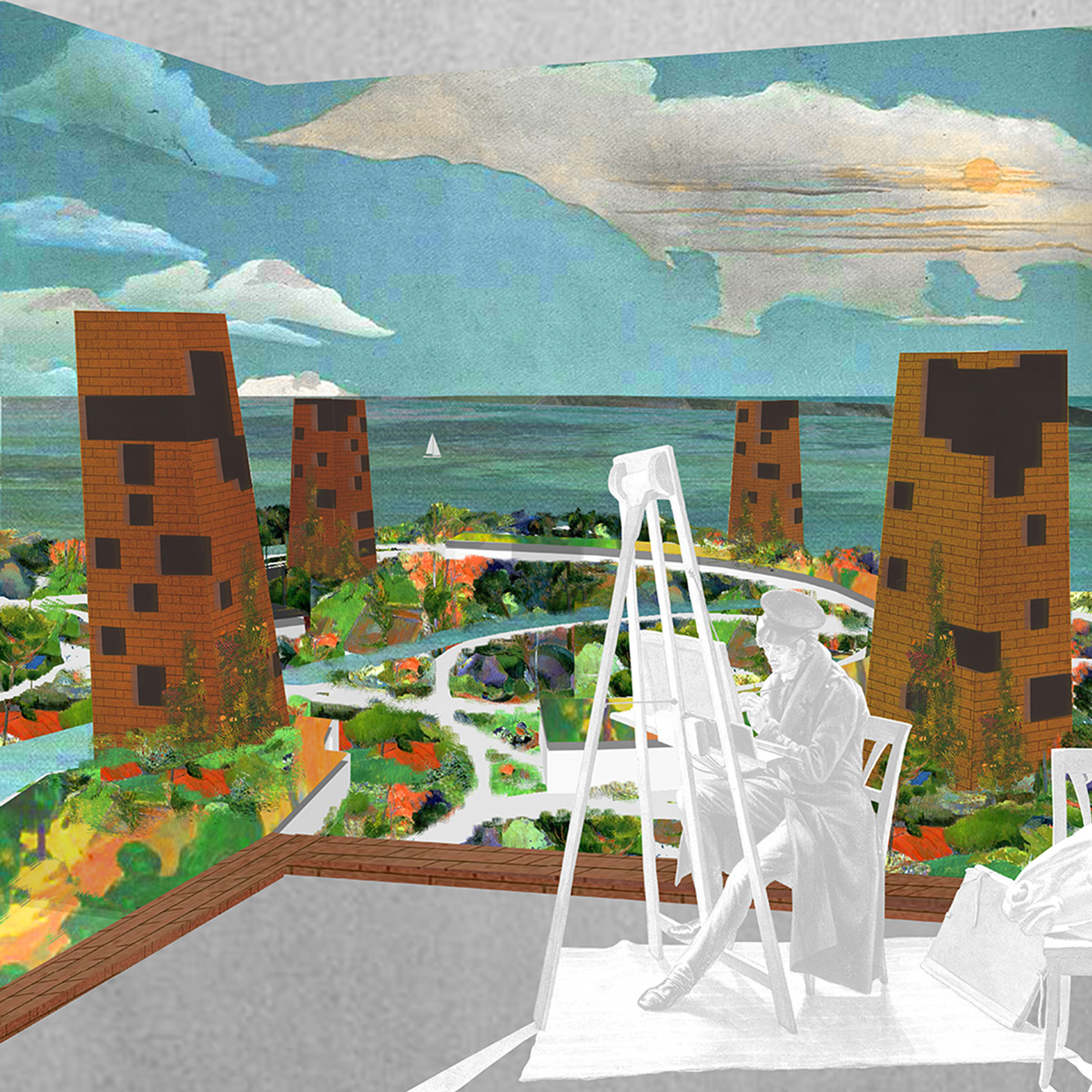 Collage concept from one of the possible art studio spaces observing the landscape of UI and the urban quality of the towers