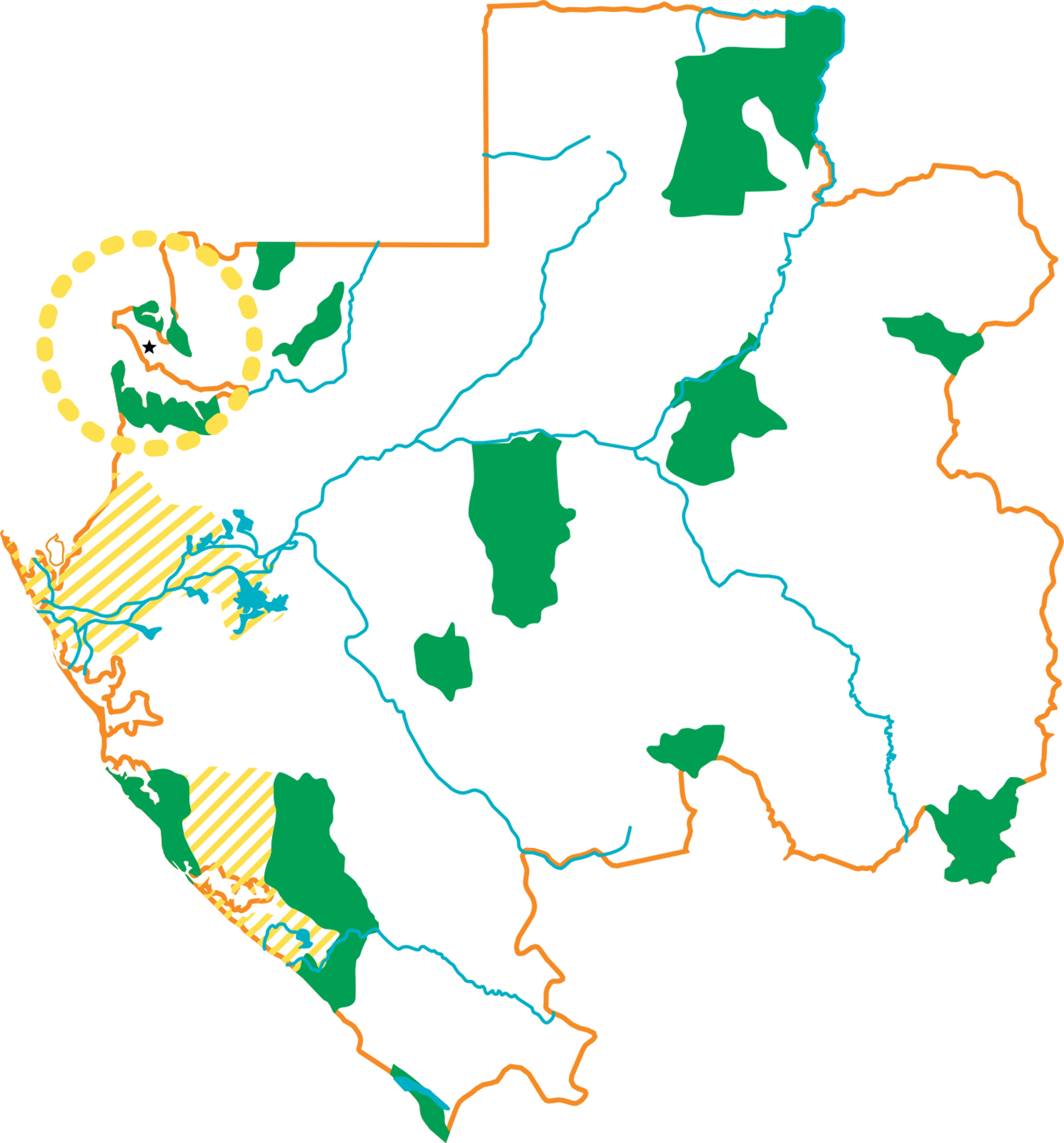 Map of Gabon illustrating the 13 national parks that cover 10% of the country
