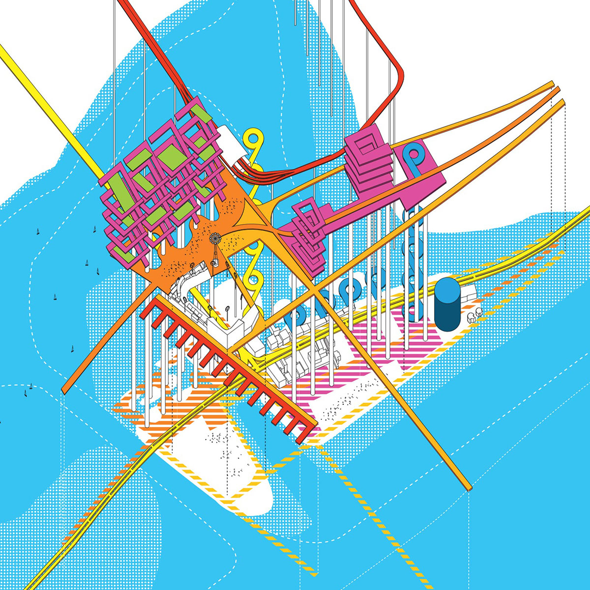 Exploded axonometric study looking at the various layers of the lifted CISL infrastructure above a shifting landscape