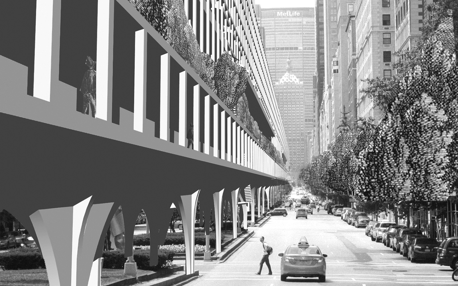 Perspective of Park Avenue at Midtown with ININ infill housing massing located within the center median