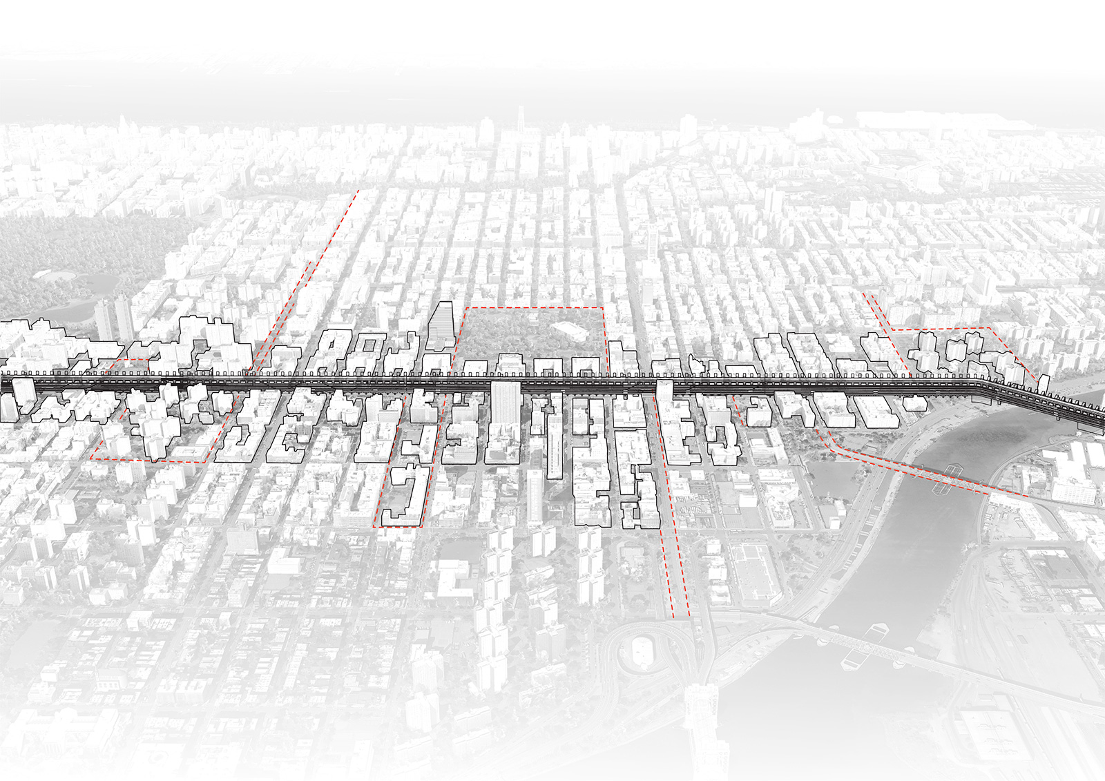 Aerial perspective showing the ININ infill massing along Park Avenue on Manhattan as a reaction to housing needs