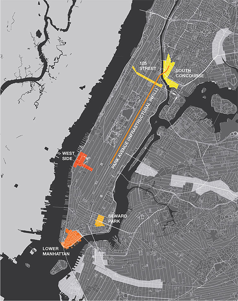 Urban plan showing the possible underdeveloped sites for housing in Manhattan—adding Park Avenue ININ site as a possibility