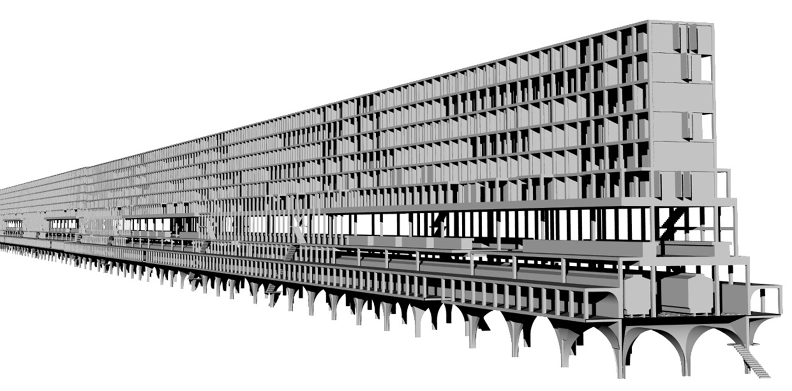 In progress massing study of the inserted infill ININ massing along the dense Harlem neighborhoods with elevated rail