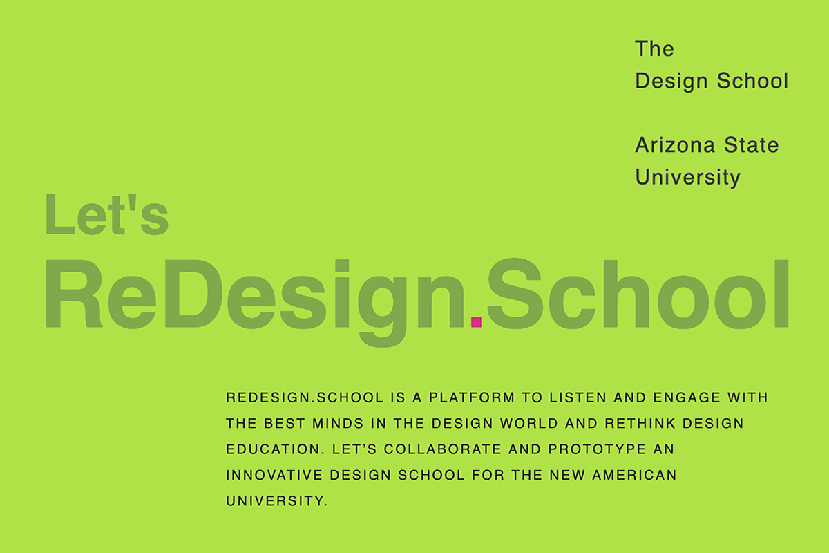 Graphic header for Arizona State University's ReDesign.School interview conversations around the future of design education