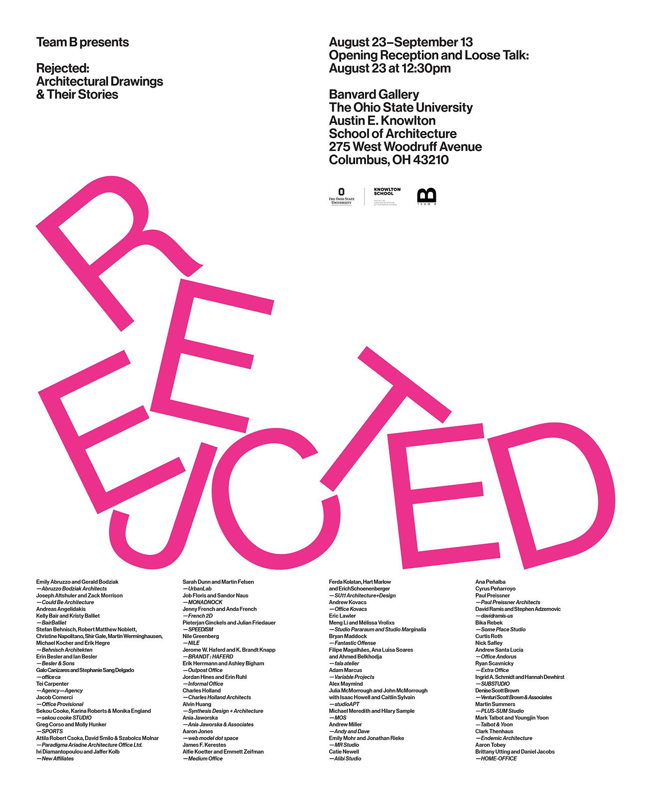 Poster from Rejected: Architectural Drawings & Their Stories put on by Team B and Knowlton School of Architecture