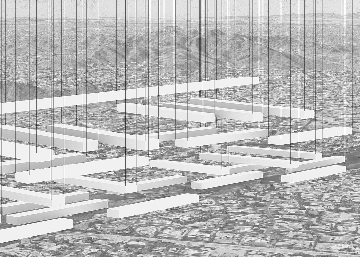 Concept image depicting an urban growth of stacking linear bars between disconnected communities by student Julien Gutierrez