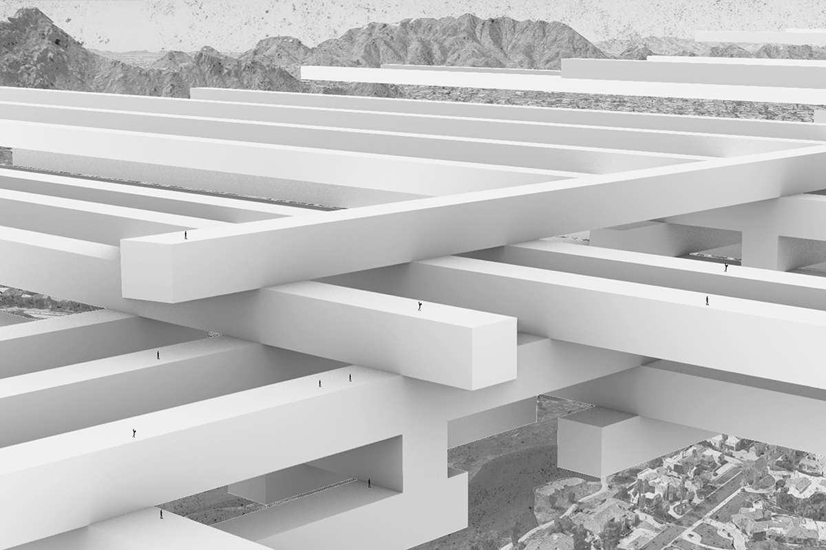 Massing perspective looking at layering skinny linear bars of housing as a porous web student by Julien Gutierrez