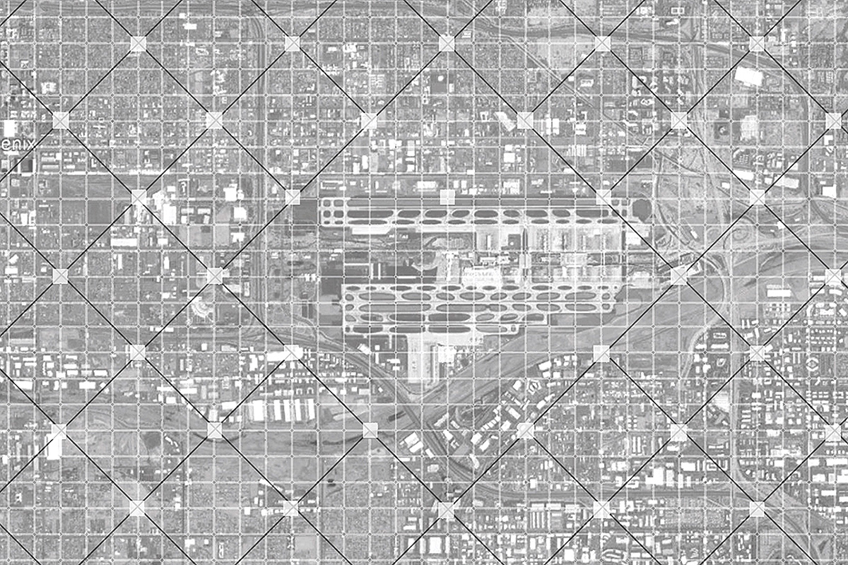 Urban concept plan diagramming a larger diagonal grid of nodes over Phoenix by student Salma Osuna Lopez