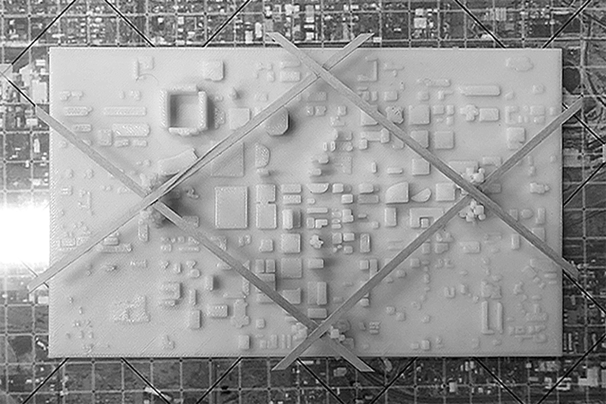 Plan of a physical model for a raised urban infrastructure interacting with the existing city by student Salma Osuna Lopez