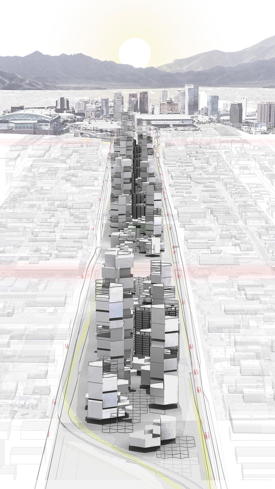 Perspective of an evolving infill corridor infrastructure as the new entry to downtown Phoenix by student Dellan Raish