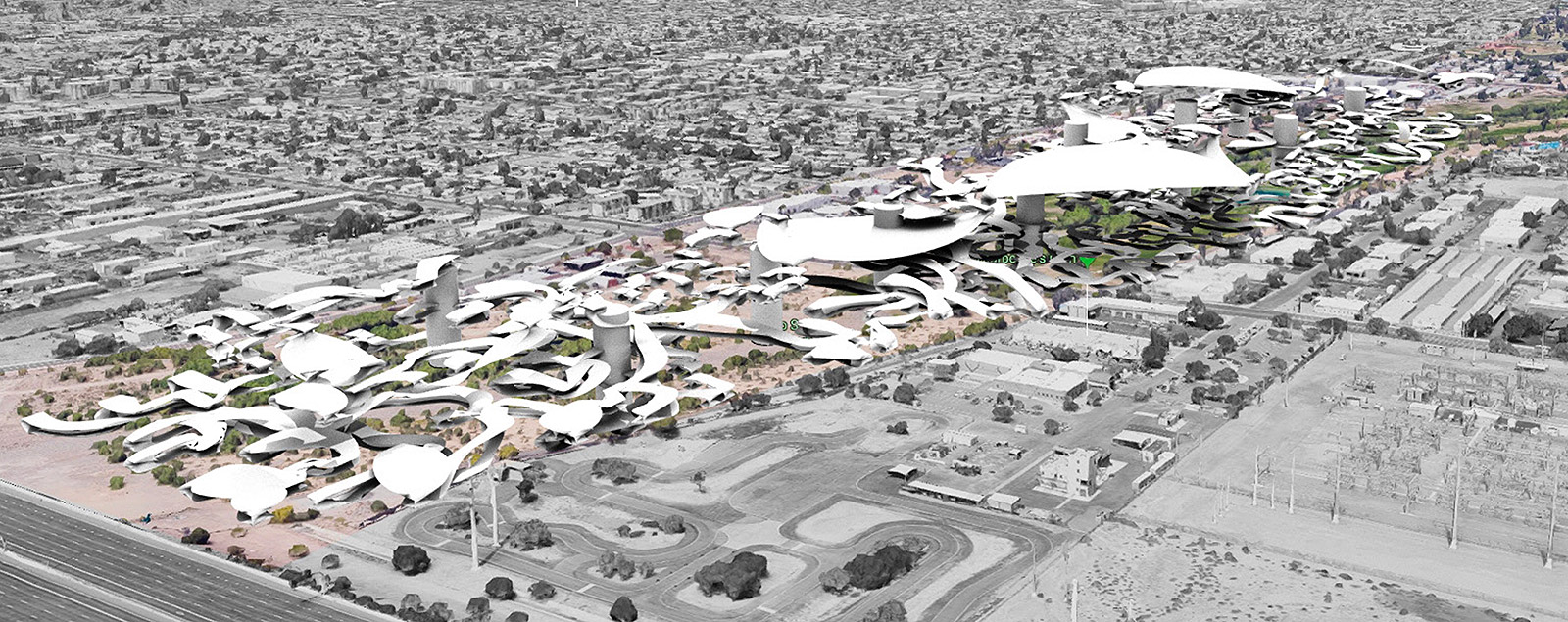 Regional aerial perspective of an early massing concept for housing forms blending with the landscape by student Brayan Munoz