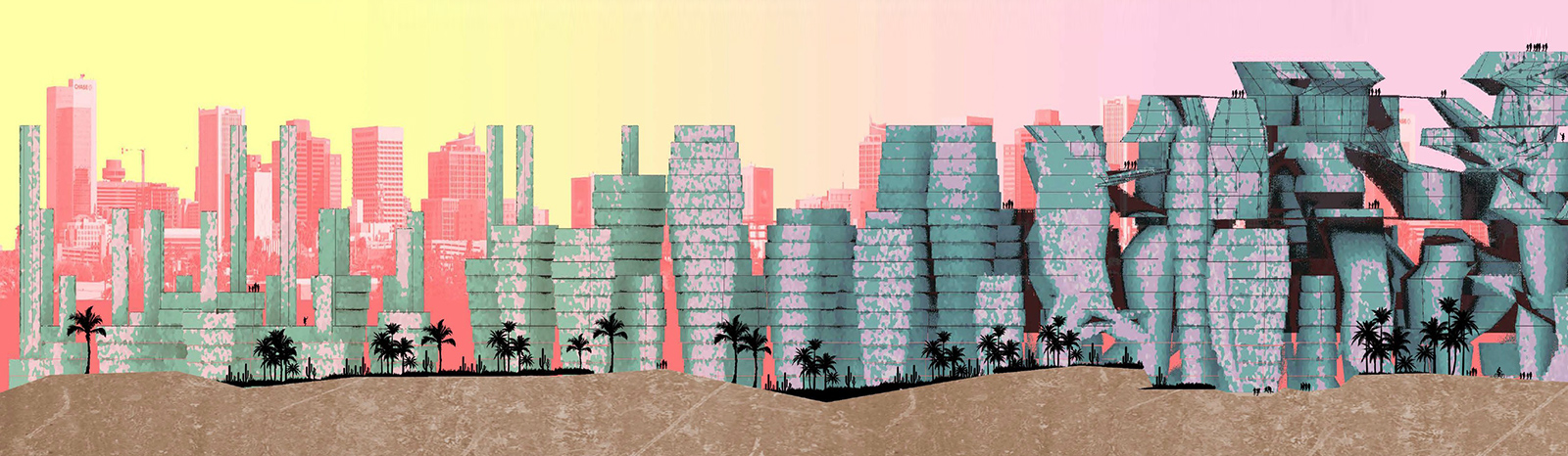 Temporal development of an organic infill city proposed by student Brayan Munoz illustrated through shifting elevations