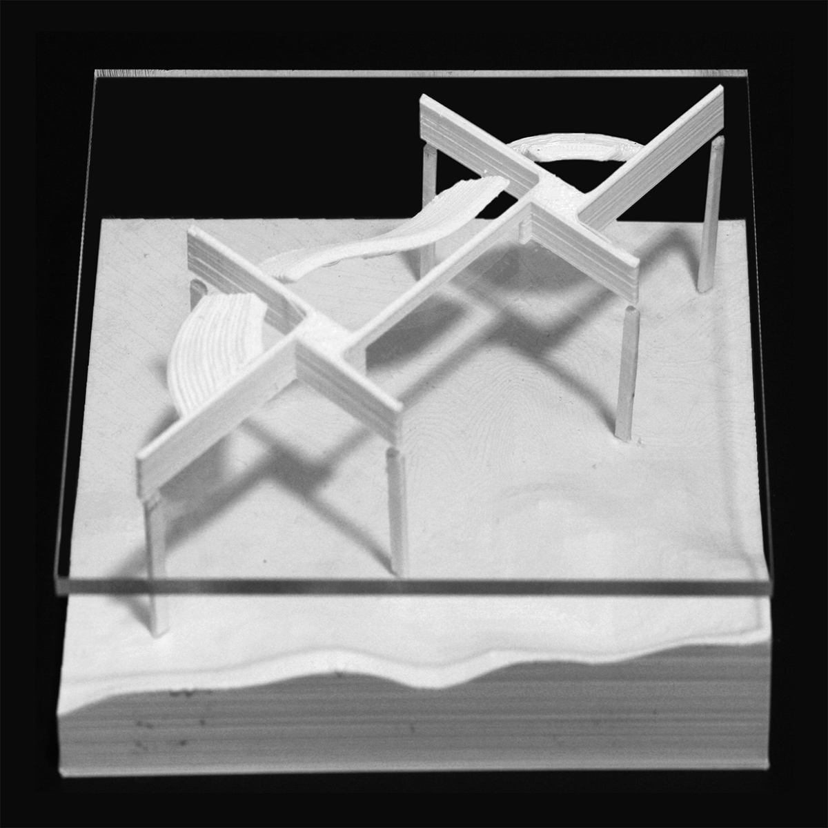 Massing model illustrating student Michael Felix's proposal for a pinwheel set of housing framing the mountains in Phoenix