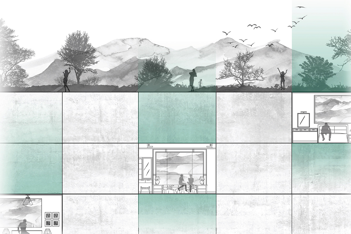 Conceptual section for simple housing bars topped with gardens set against the Phoenix mountains by student Michael Felix