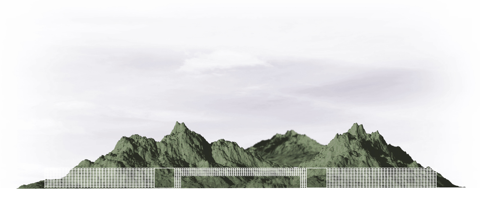 Concept elevation revealing student Michael Felix's strategy to create a series of simple bars that frame existing landscapes