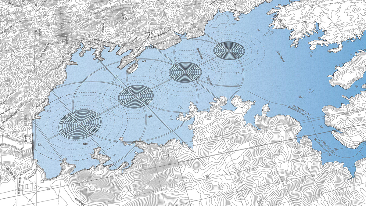 Regional plan for a series of aquatic and interconnected circular cities set within the Saguaro Lake by student Haodong Gong