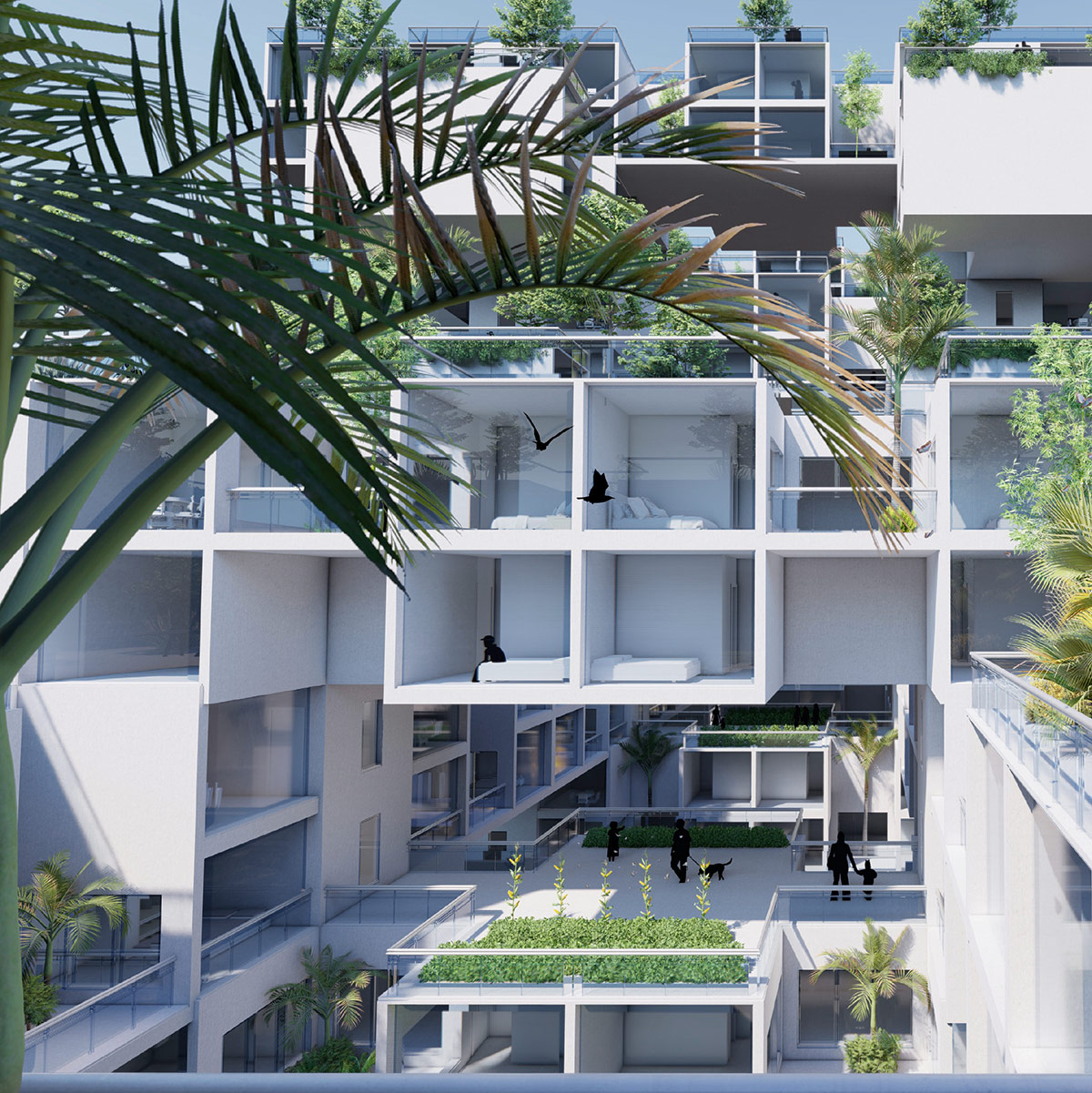 External courtyard perspective of a modular housing proposal for Tempe, Arizona by student Weicheng Wang