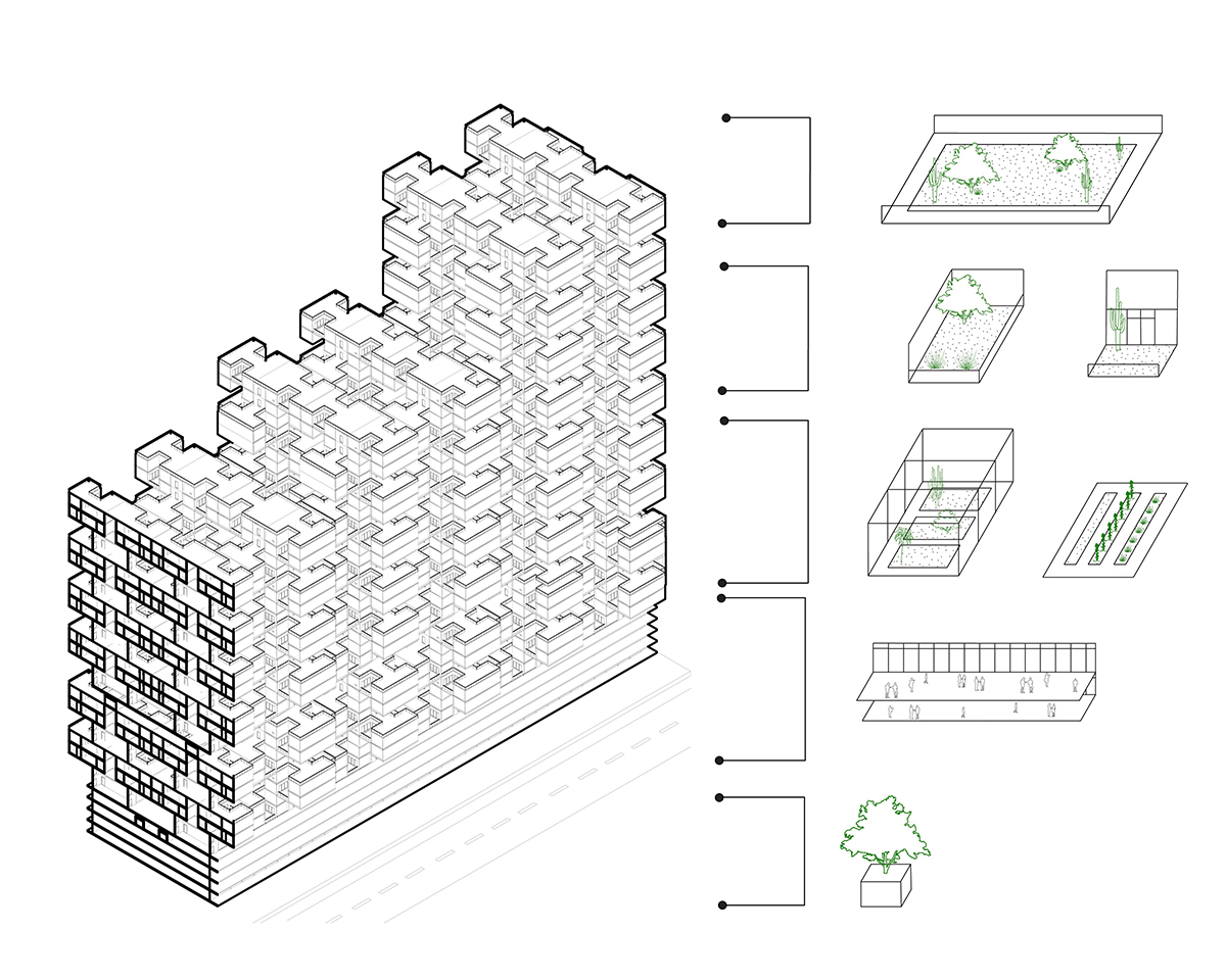 Section and diagram of a massing depicting the various types of external spaces in the proposal by student Weicheng Wang