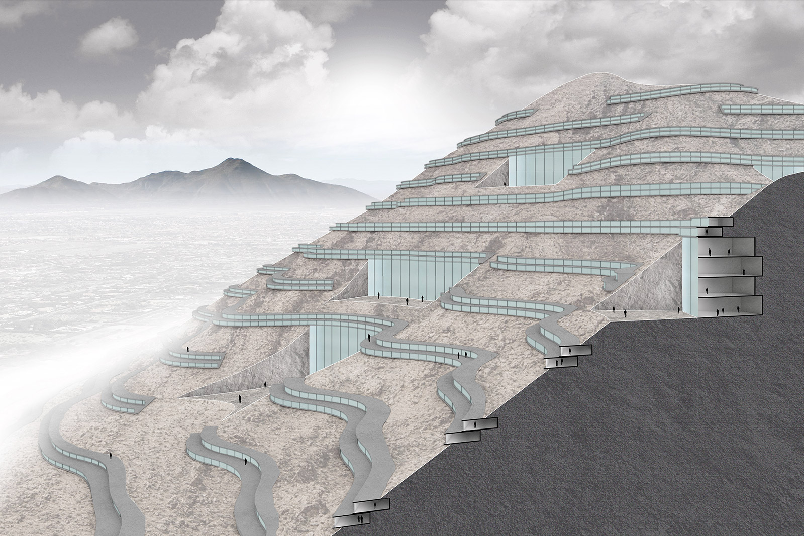 Section perspective drawing of the proposal by student Stephen Adrian for a community carved into the mountain contours