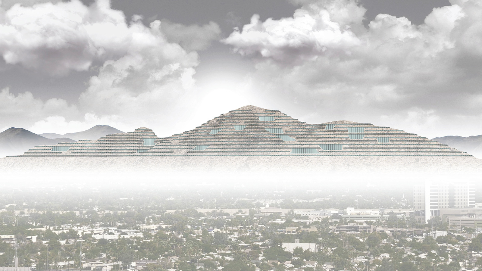Elevation perspective of Camelback Mountain in Phoenix lined with new layers of housing by student Stephen Adrian