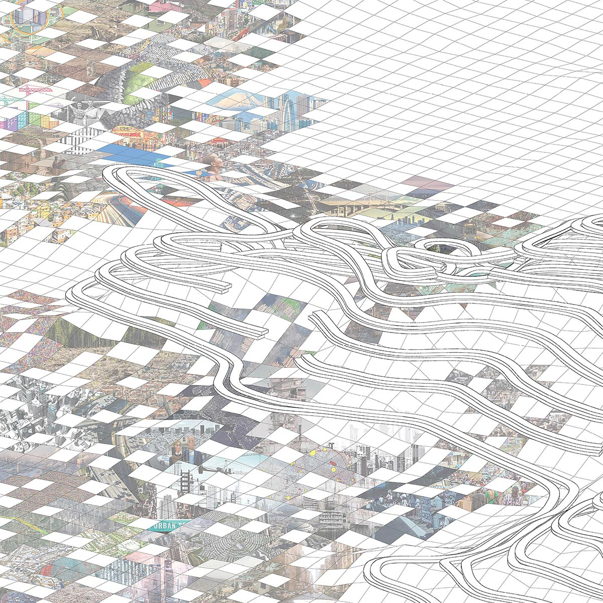 Conceptual collage illustrating a landscape being devoured by sprawl with housing contours above by student Stephen Adrian