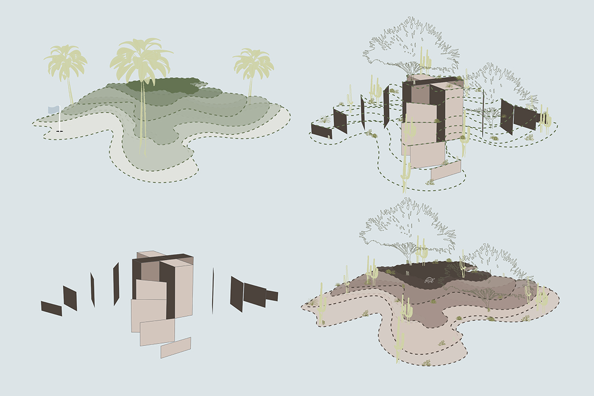 Series of formal diagrams depicting the conversion of golf courses into housing landscapes by student Lauren Bennett