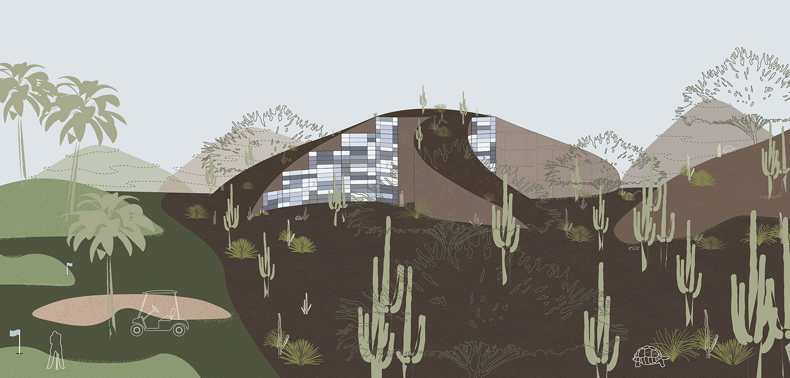 Series of connected perspectives showing the transformation of golf courses into housing landscapes by student Lauren Bennett