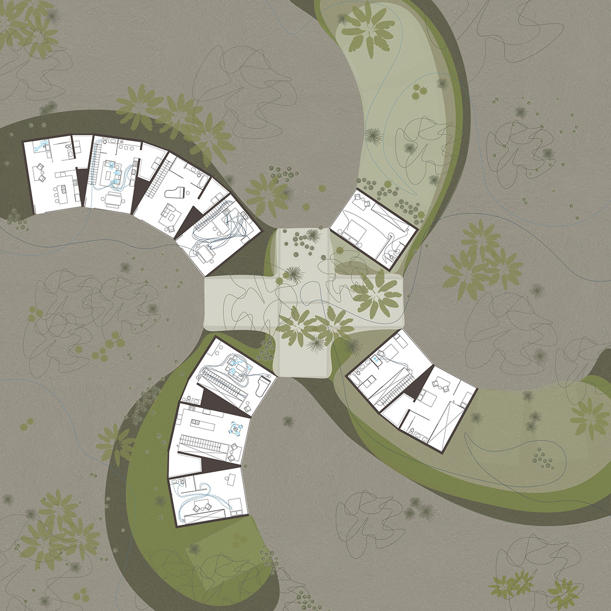 Housing plan showing the units within a single housing mound massing proposed by student Lauren Bennett
