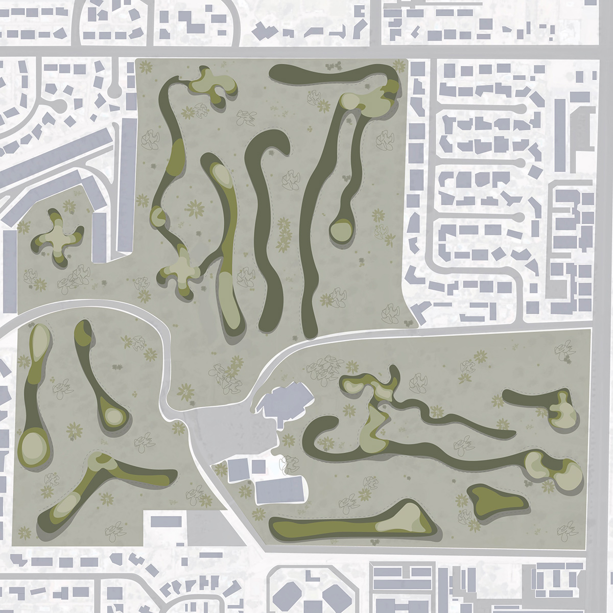Neighborhood plan of a converting a golf course plan into a housing plan by student Lauren Bennett