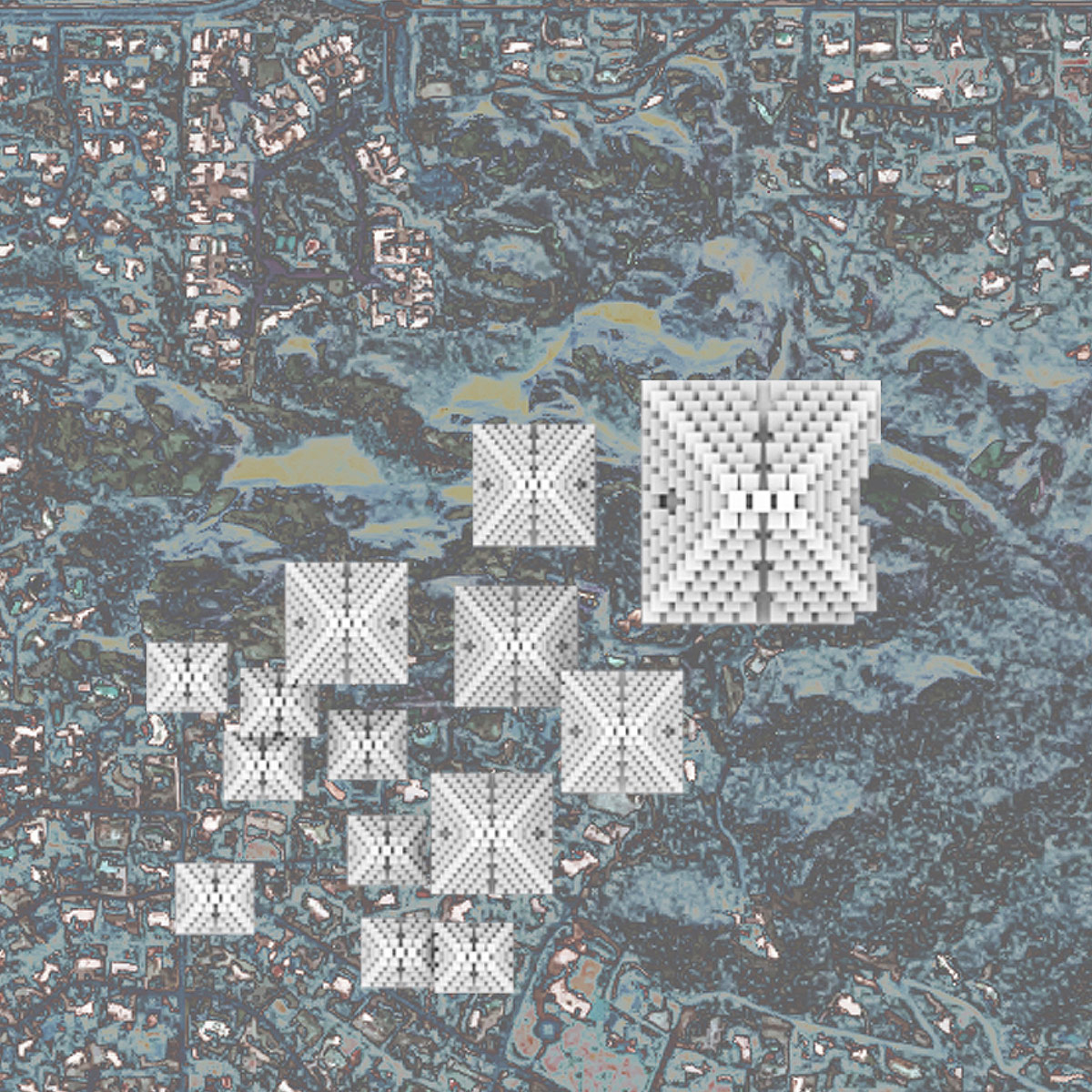 Urban plan showcasing modular housing masses merging with valleys of Phoenician mountains by student Lamarra Carter