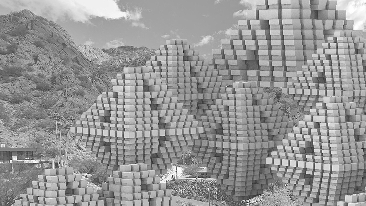 Perspective of an aggregation of modular pyramidal massings set into the Phoenix mountains by student Lamarra Carter