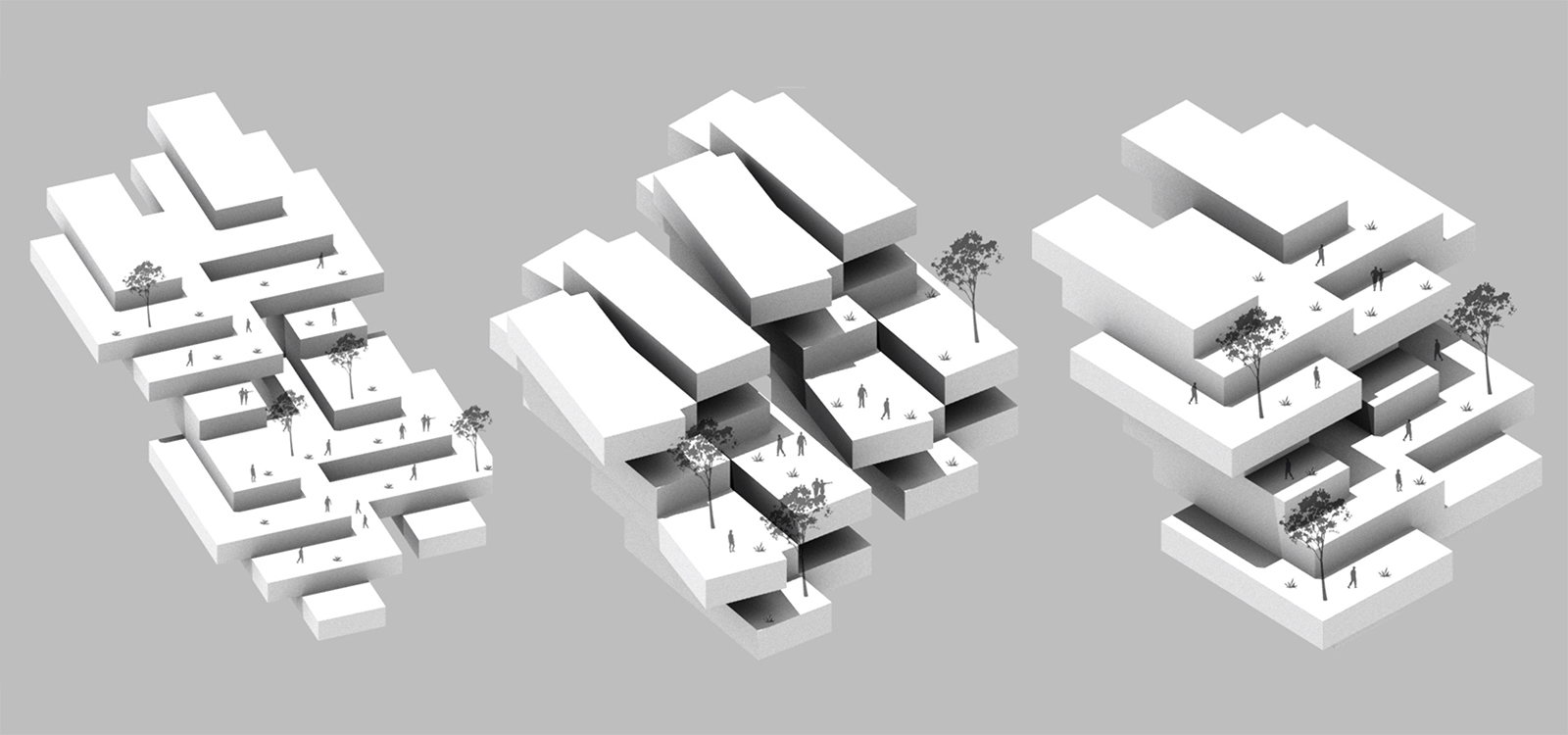 Trio of collective unit studies impacting the overall massing of terraced housing by student Miguel Ceniseros Nunez