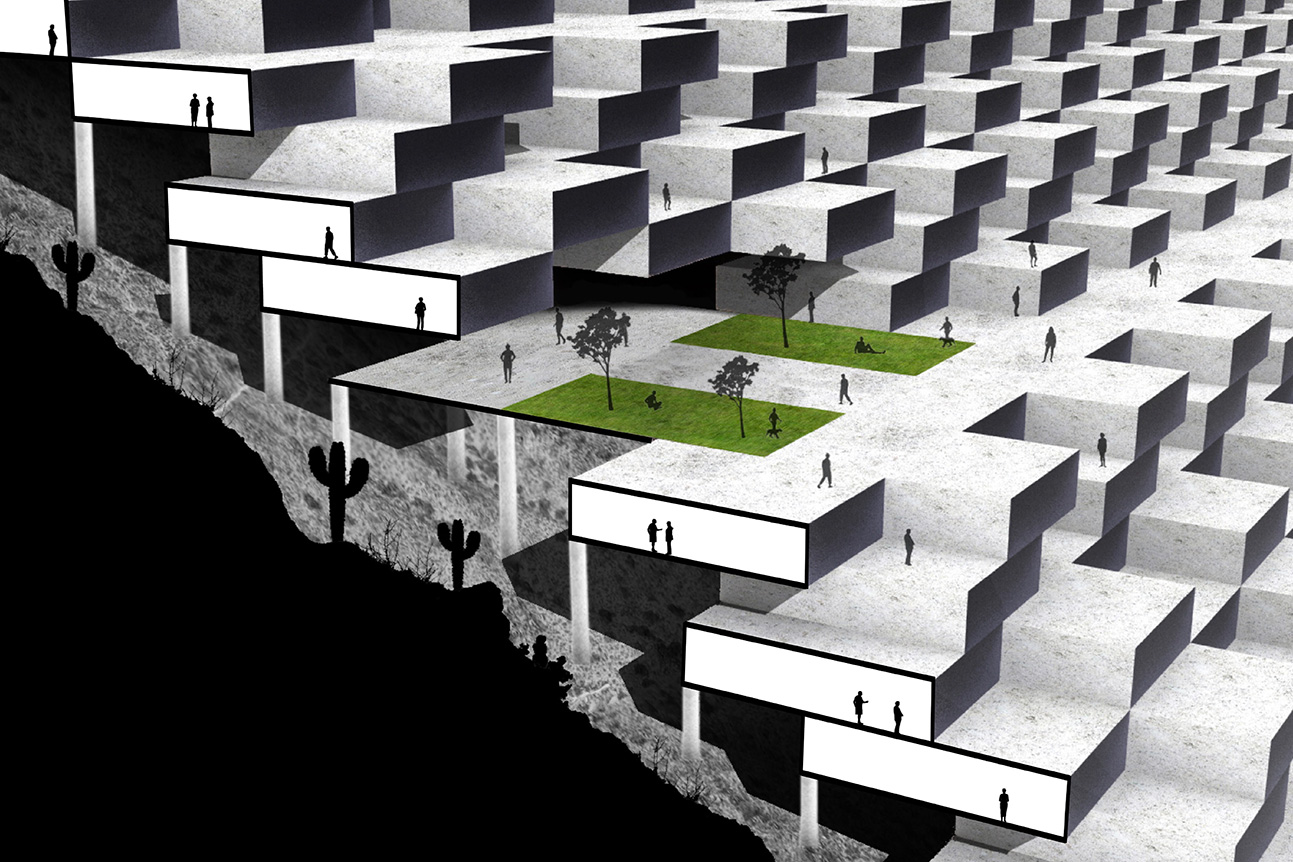 Section perspective of the terraced housing lifted above the surface of Camelback Mountain by student Miguel Ceniseros Nunez