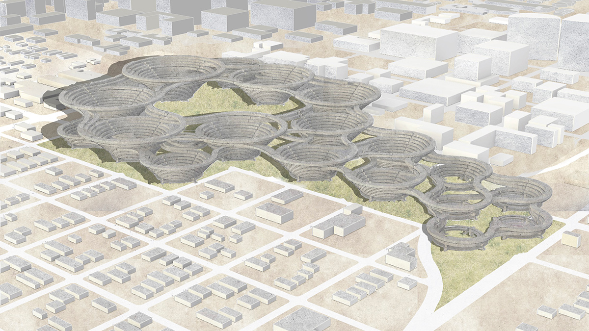 Aerial perspective representing student Brandon Sieh's proposal of zone between the industrial and downtown zones of Phoenix