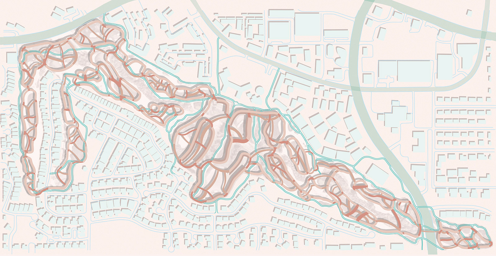Urban plan drawing depicting the various connective housing ribbons looping between golf holes by student Adrisda Maulsi