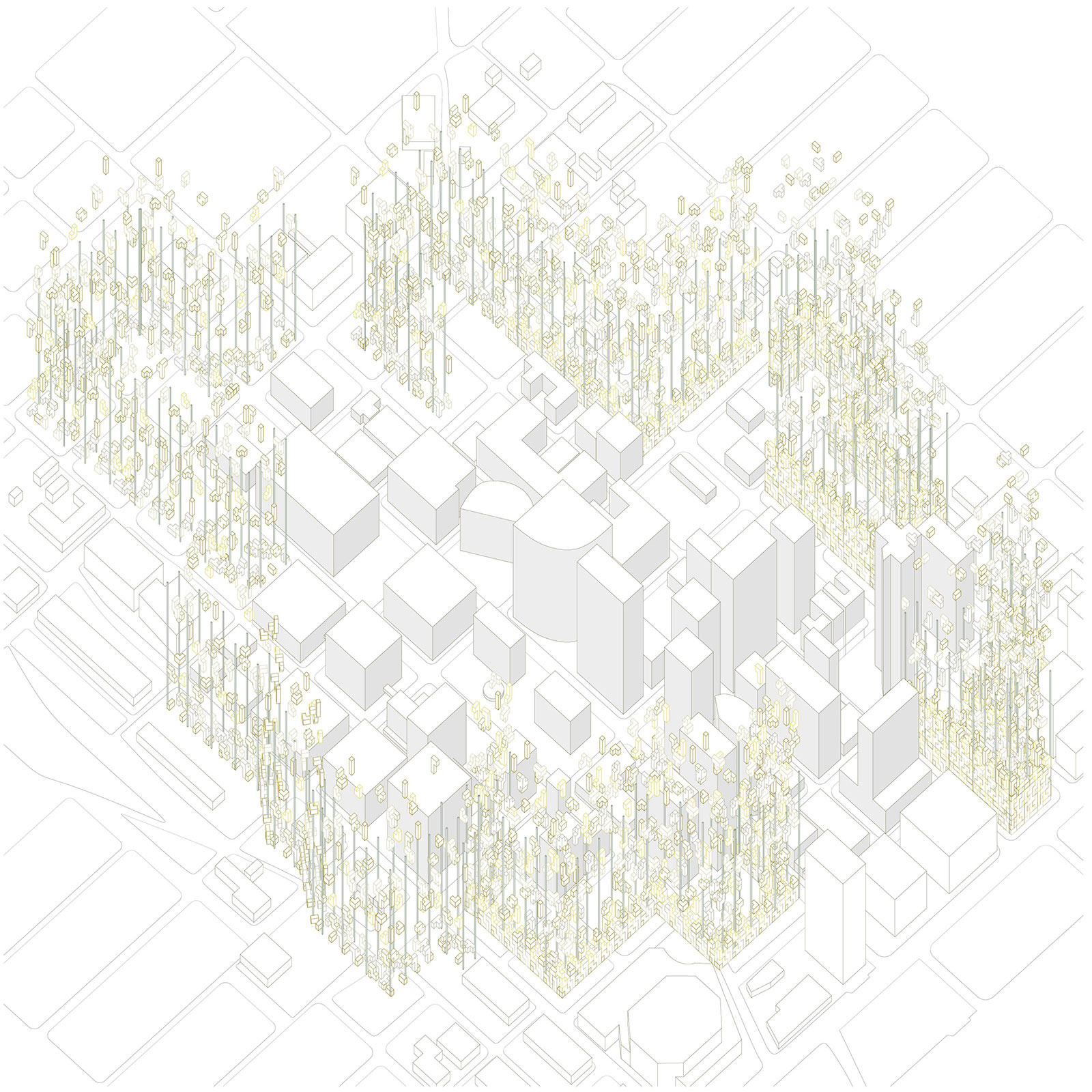 Exploded axonometric drawing showing the growth of housing frames around downtown Phoenix by student Marcia Ibarra