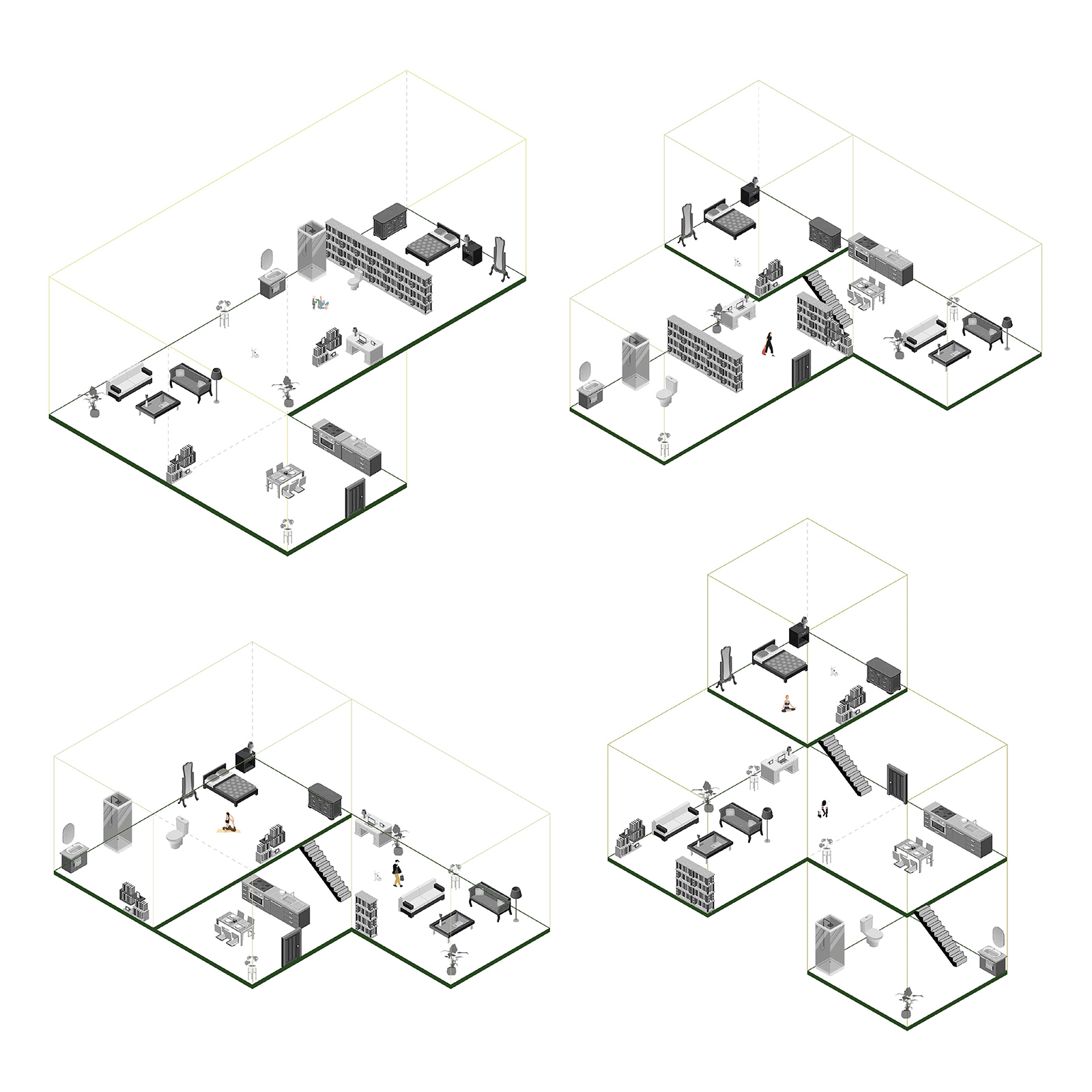 Series of unit typology studies with various interlocking forms within the walls of student Marcia Ibarra's housing volumes