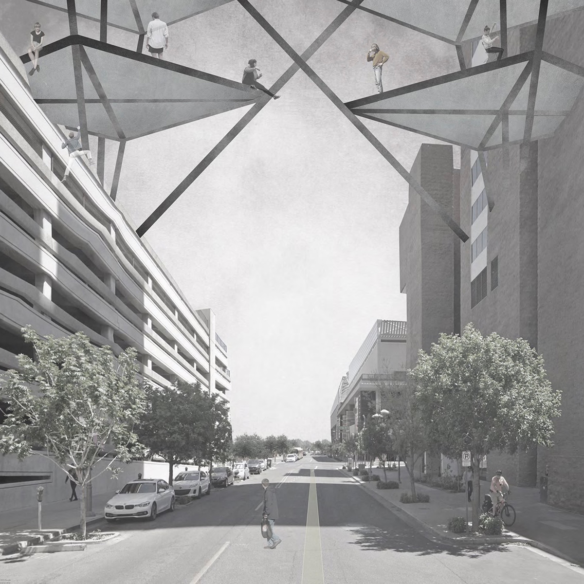 Street perspective showing a typical Phoenix street with new volumes beginning to connect above by student Brennan Richards