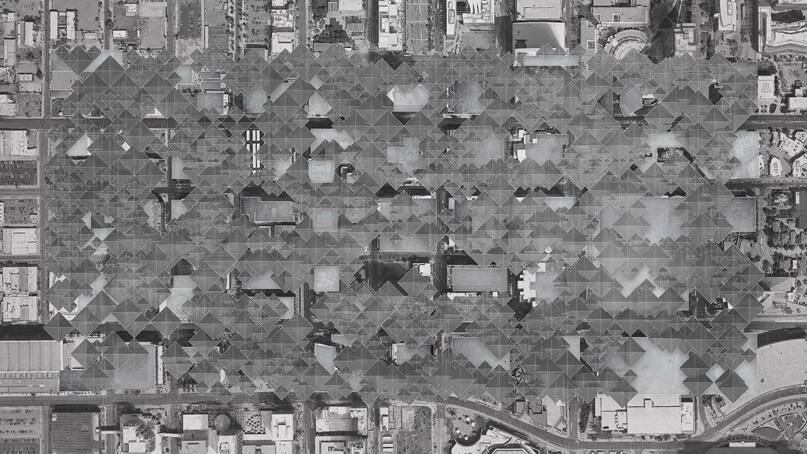 Urban plan of downtown Phoenix showing the future housing infrastructure cloud above the city by student Brennan Richards