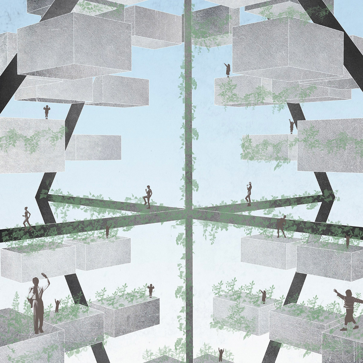 Study perspective of the spaces shared between volumes in the vertical city by student Brennan Richards