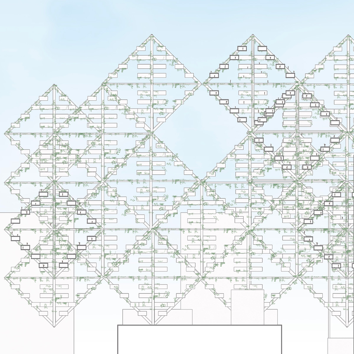 Study of the diagrid infrastructure and housing volumes above the existing city proposed by student Brennan Richards