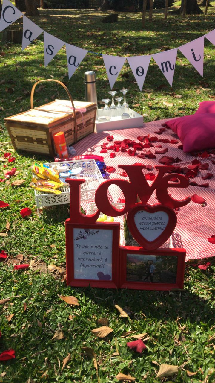 decoração piquenique romântico pedido de casamento