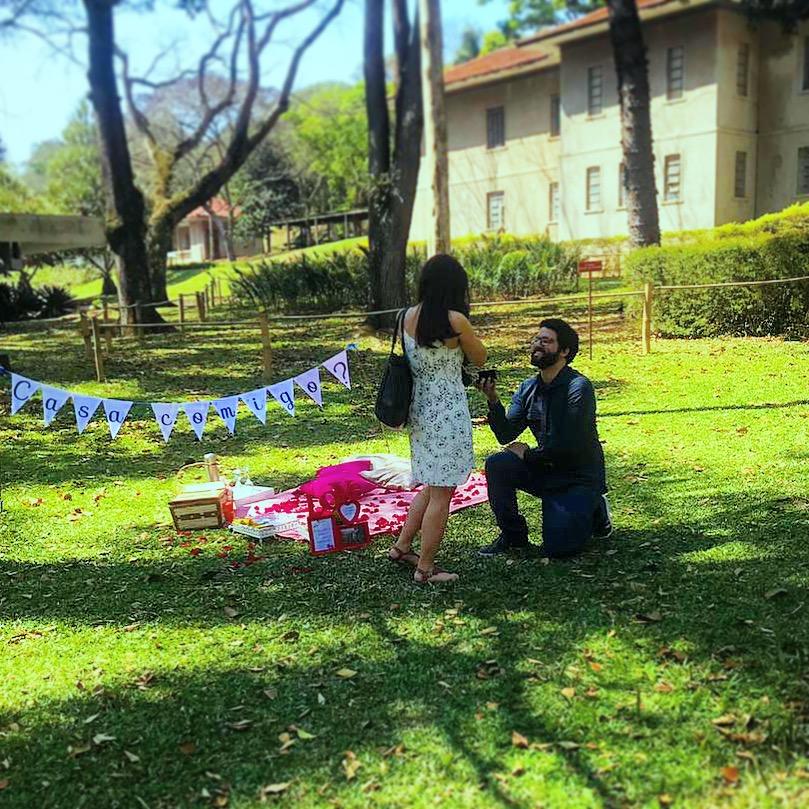 pedido de casamento em um piquenique