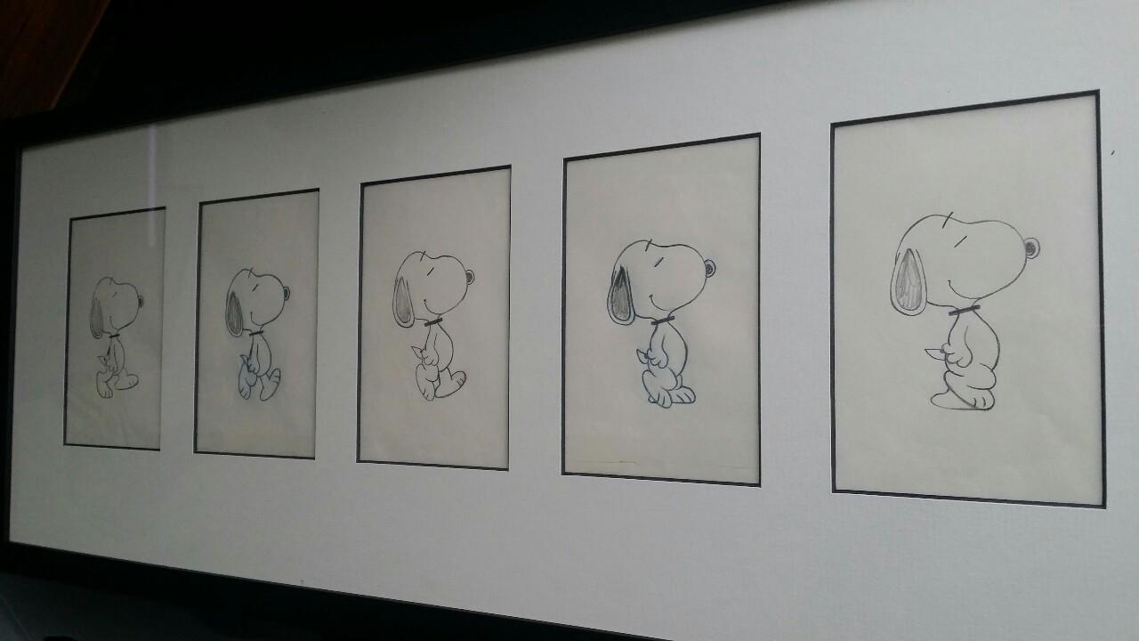 Original Snoopy walk cycle drawings