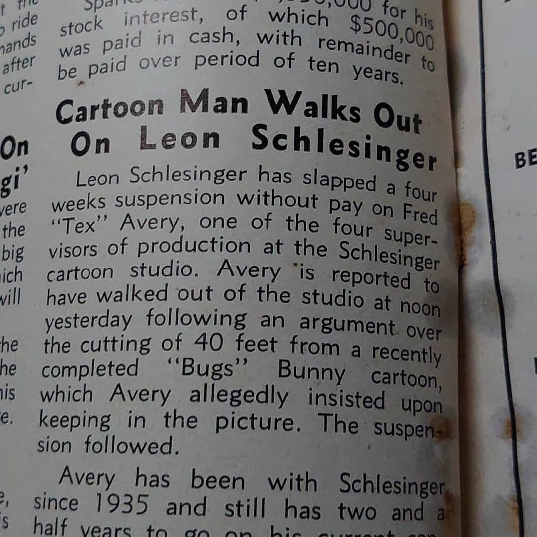 Tex Avery hissy fit with Leon Schlesinger over Bugs Bunny