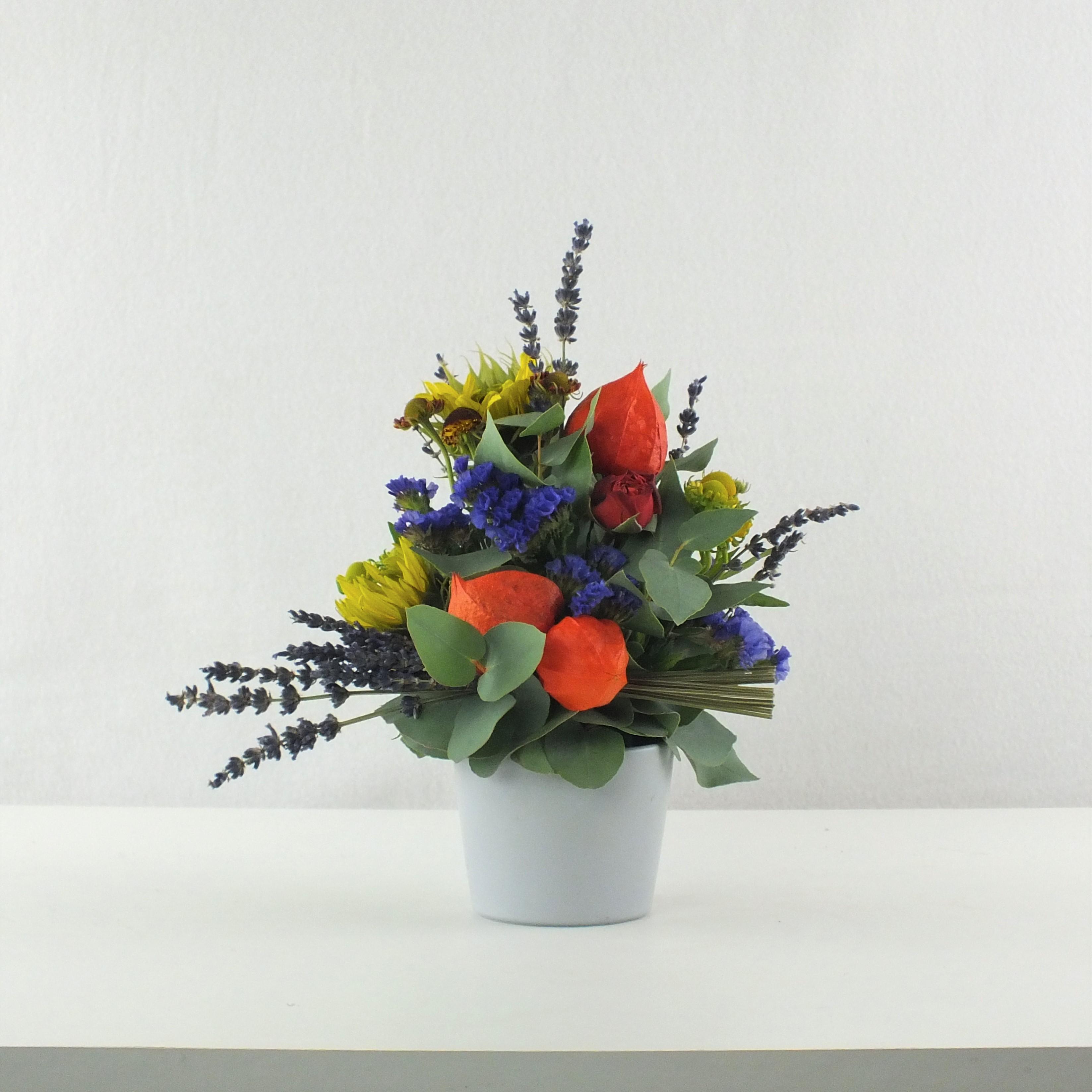lampionblume, gesteck, lavendel