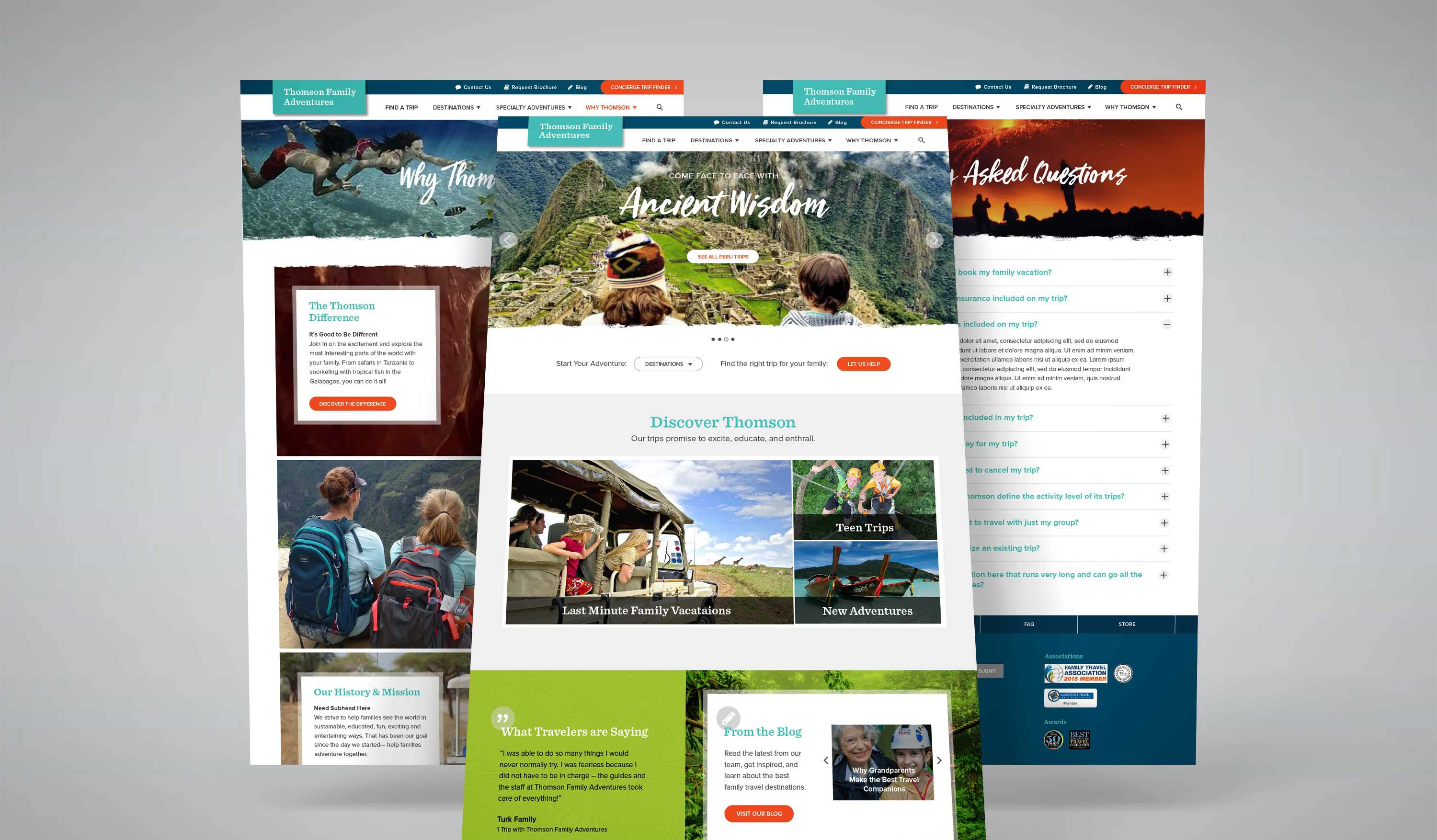 Thomson Family Adventures website screens
