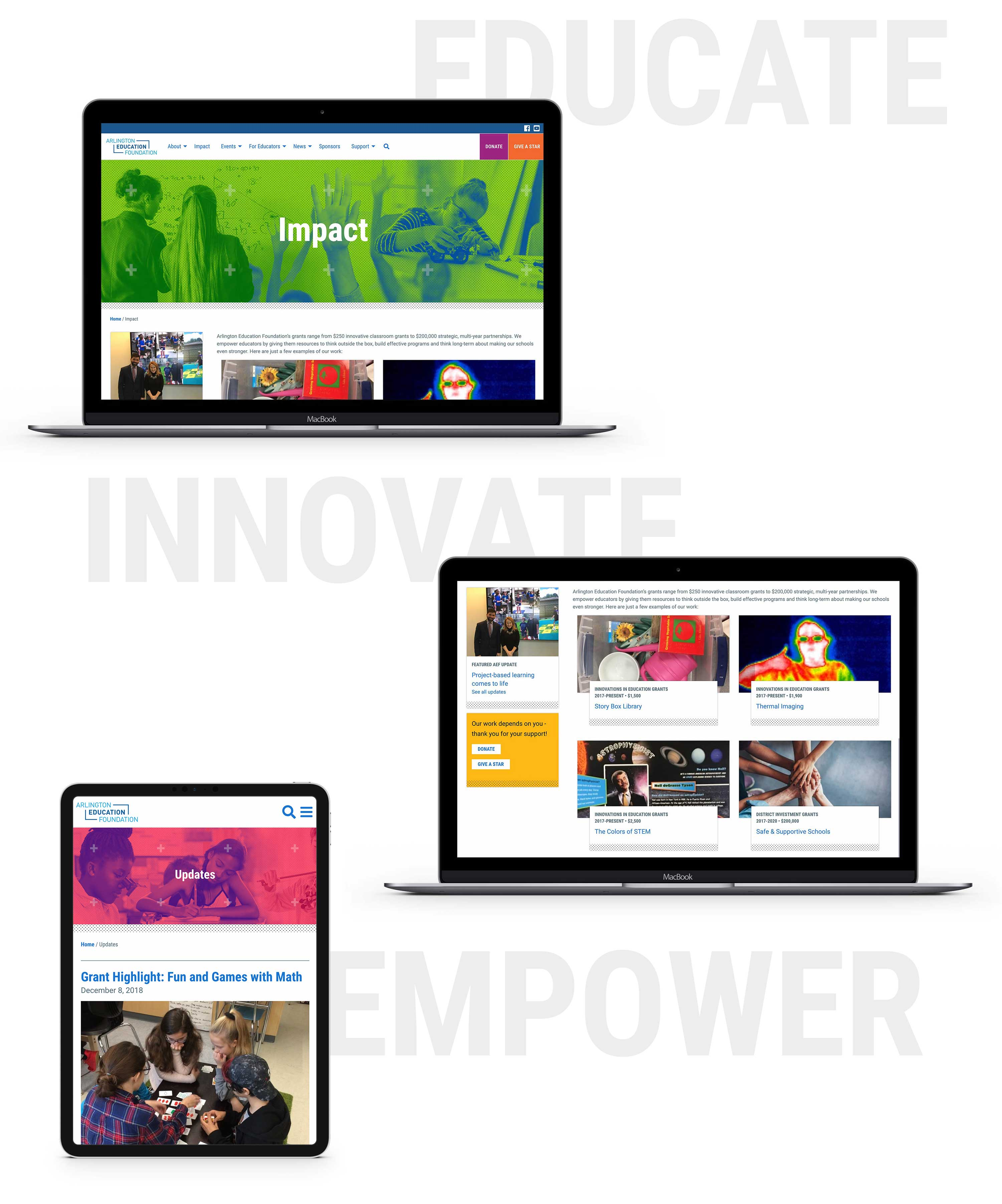 Arlington Education Foundation website screens with the words educate, innovate, and empower